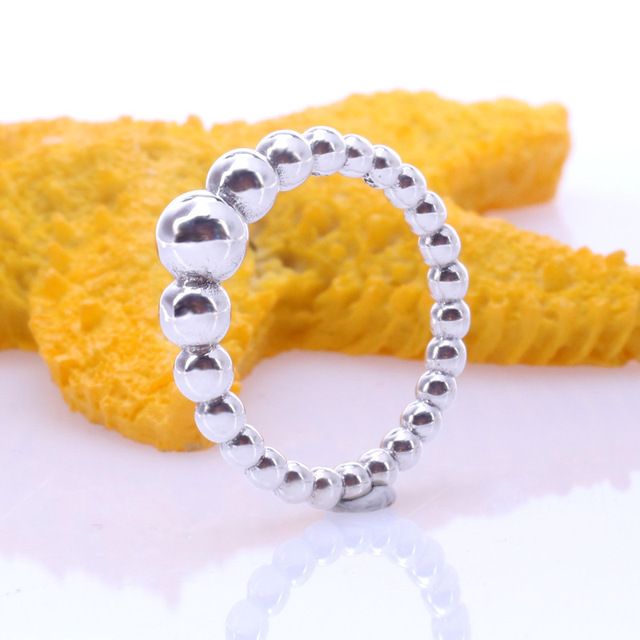 2019 nouveau Original couleur argent chaîne de perles anneau pour les femmes redimensionnable mariage fiançailles Pan anneaux livraison directe