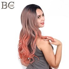BCHR Ombre13*4 Lace Front Wig for Women Long Wave Synthetic Orange Wig Heat Resistant Fiber Wig Free Shipping