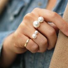 Mode Perle Ring Übertreibung Mode U-förmige Öffnung Einstellbar Gold Ring Für Frauen Neue schmuck 2020