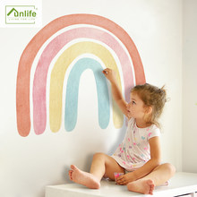 Funlife® Watercolor Rainbow Wallpaper Wall Sticker Colorful Peel & Stick Removable Eco-friendly PVC Easy to Clean for Bathroom