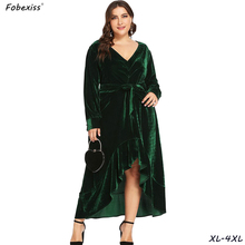 Elegant Velvet Party Dress Women Plus Size 4XL Vintage Green Bandage Dresses Long Sleeve Sexy V Neck Sashes Winter