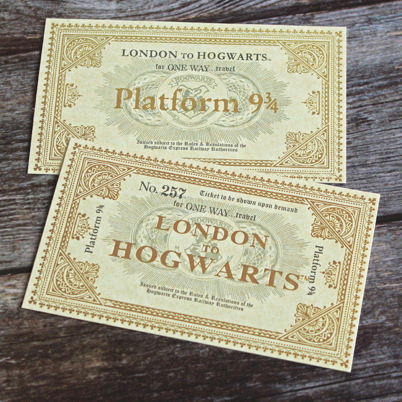 1 Pcs Potter Ticket London To Hogwarts Express Replica Train Ticket Platform NO. 257 For One Way Travel Fans Gifts