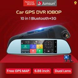 Junsun E515 Автомобильный видеорегистратор 3 г зеркало 6.86 регистраторы Full HD 1080 P видеомагнитофон Камера Android 5.0 gps зеркало заднего вида Регистрато...