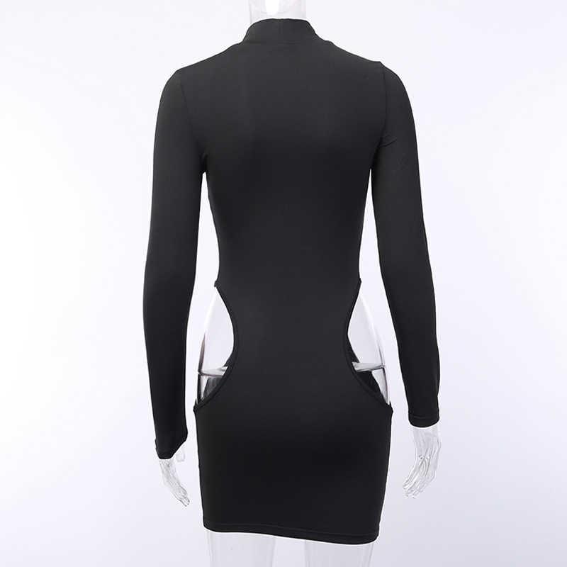 Openwork high-neck long-sleeved dress side exposed hips short dress sexy slim body summer dress