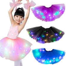 8 Colors Glowing Light LED Girls Tutu Skirts Pure Fresh And sweet Pleated Skirt Party