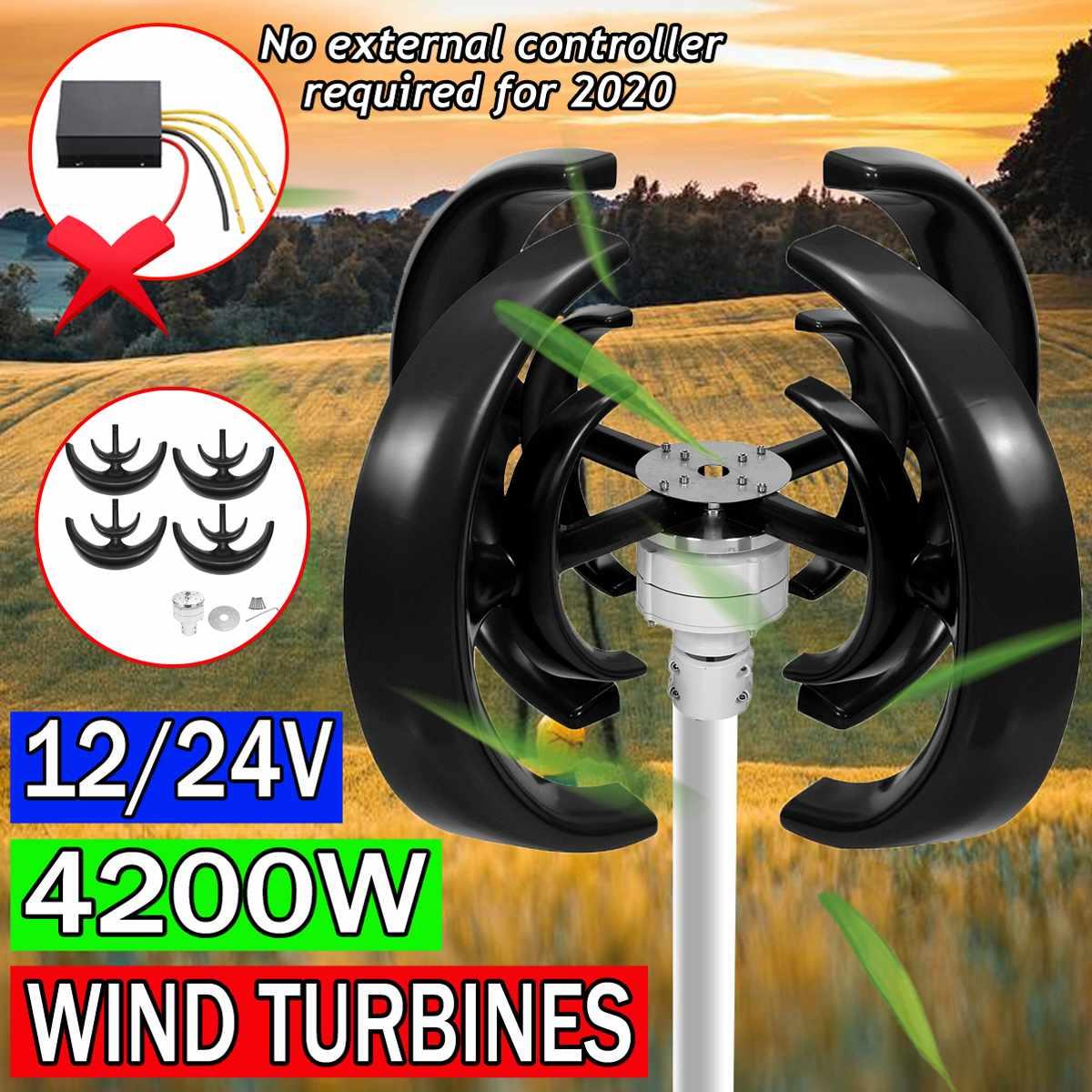 4200w 12v 24v eixo vertical turbinas eolicas gerador lanterna 4 laminas motor kit turbinas de carga