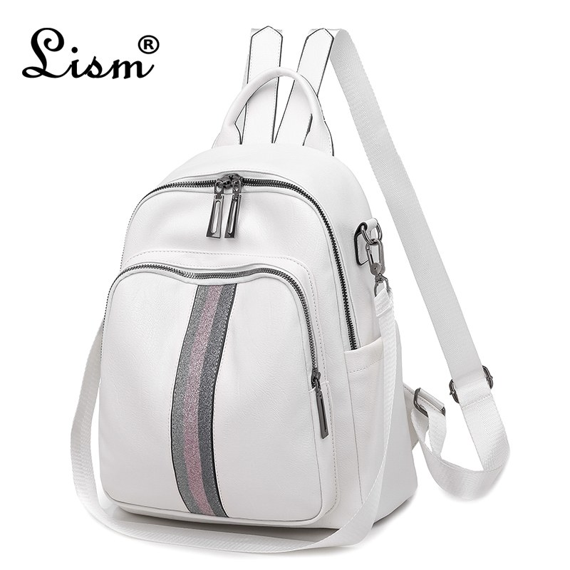 Brand Luxury Ribbon Backpack 2019 New PU Leather Waterproof Bag College Style Young Student Bag White Famous Designer Design