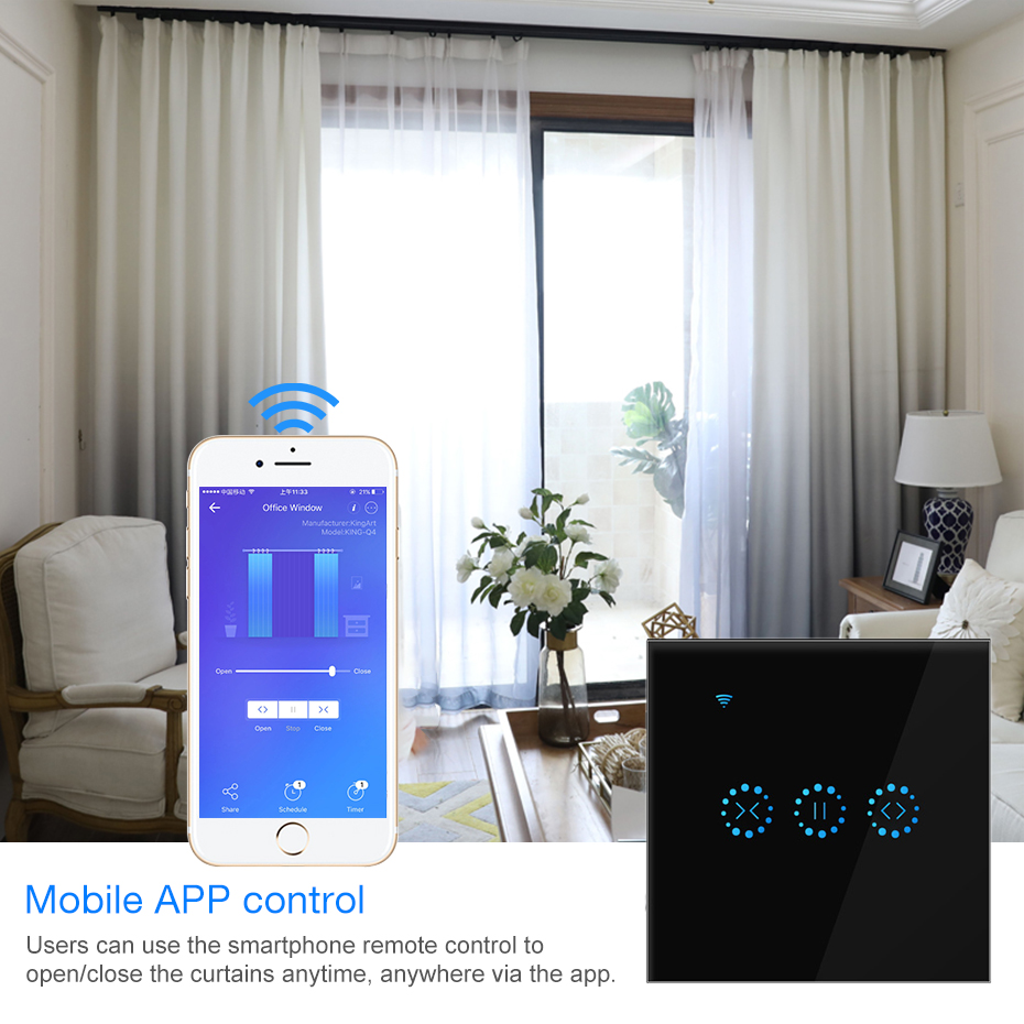110v-240V WiFi Electrical Touch Smart Blinds Curtain Switch Ewelink APP Voice Control By Alexa/Google Home Blinds Motor /light