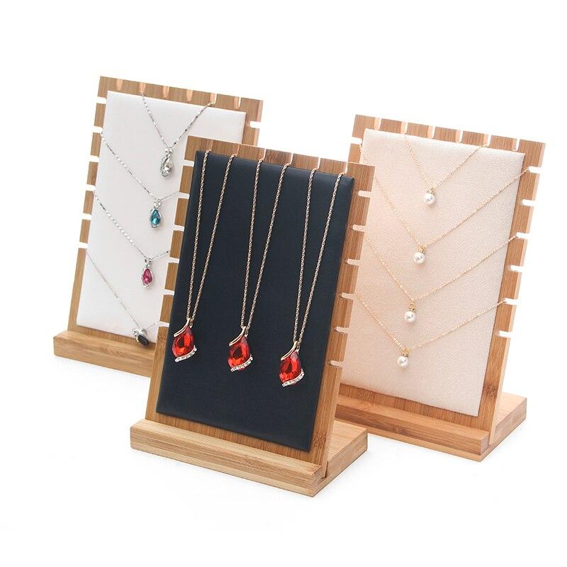 Moda nova jóias de bambu expositor colar titular pingente longo corrente pendurado organizador placa
