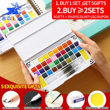 High Quality Professional Solid Pigment Watercolor Paints Set With Water Color Portable Brush Pen For Painting Art Supplies цена 2017