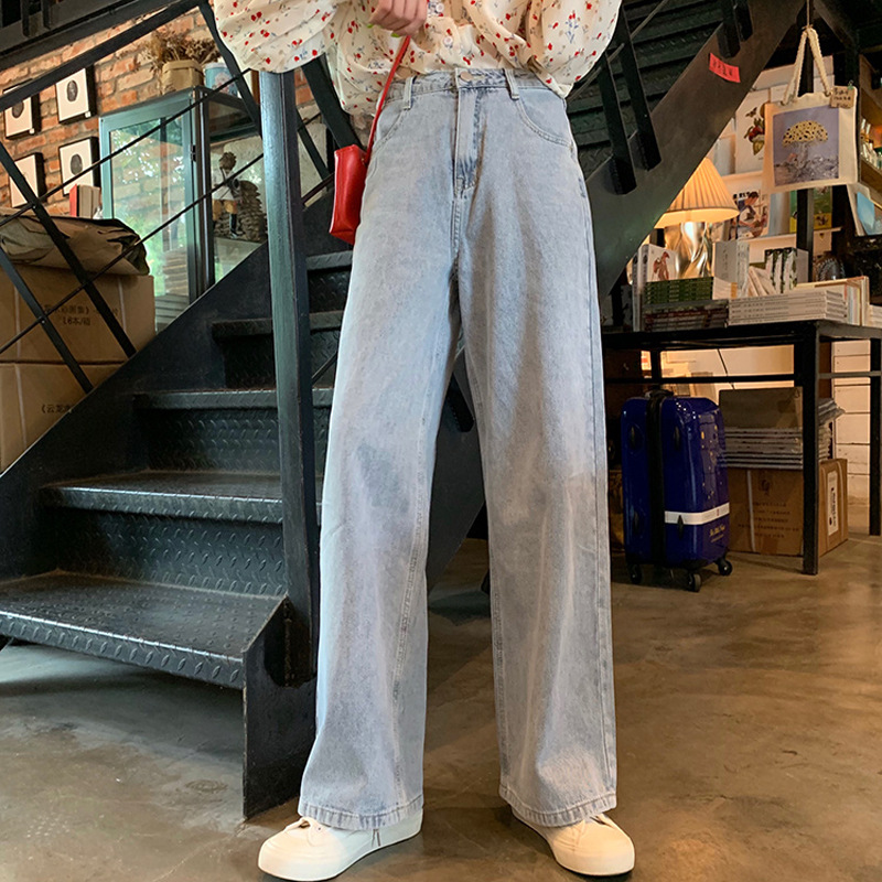 Pants   Jeans   Korean Style Fashion Loose Casual Light Blue Women Fit 2020 Free Shipping Harajuku Versatile Wide Leg   Jeans