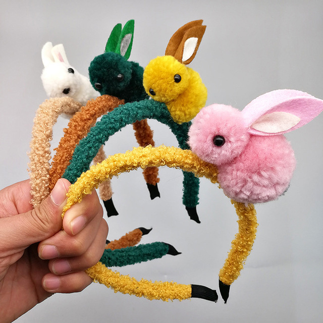 Cute Animal Hair Ball Rabbit Headband Female Hair Band Hair Clip Korean Headwear Children Hair Accessories Headwear Ornaments
