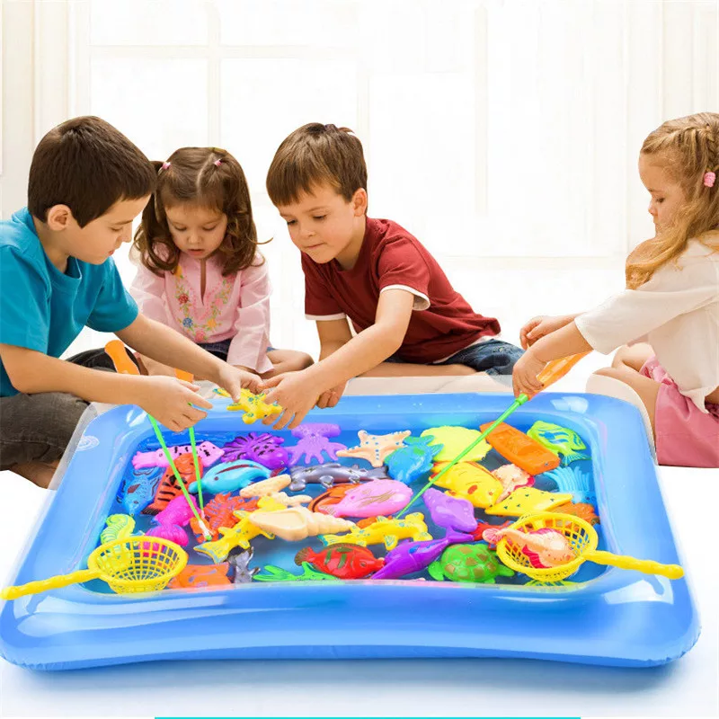 18pcs/set Kids Play Fishing Games Model Child Magnetic Fishing Toy Rod Set With Inflatable Pool Kids Summer Outdoor Toys