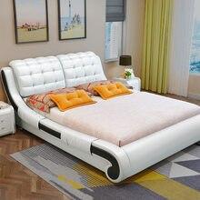 Deri yatak basit modern konut ana yatak odası mobilyası çift yumuşak yatak 1.8 m 1.5 m