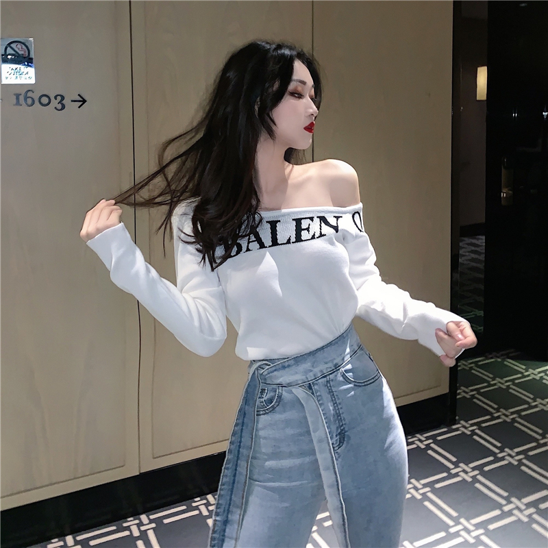 Women's Spring Autumn Knit Sweater Slim Fit Full Letter Knit Tops Sexy Slash Neck Off-Shoulder  Bottoming Pullover Sweater ML721