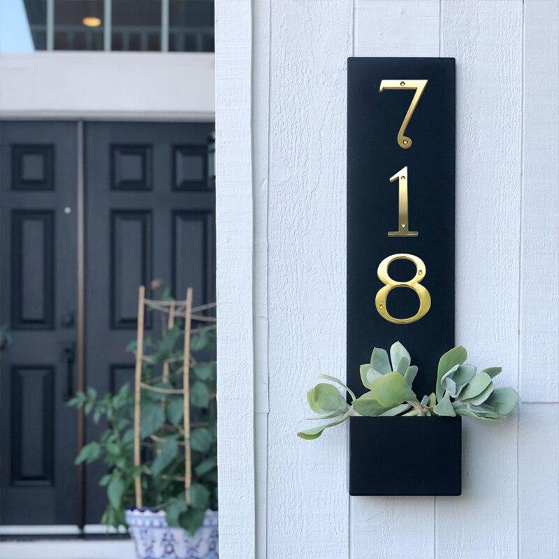 101mm Brass House Number Door Sign Big Huisnumer Outdoor Address Mailbox Numbers Modern Home Apartment Signs Metal Zinc Alloy 4 Door Plates Aliexpress