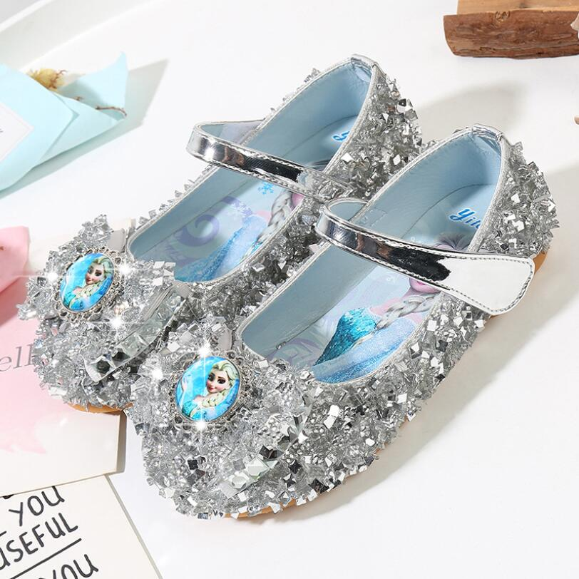 Girls Leather Shoes For Baby Diamond Elsa Princess Shoes Girls Autumn Spring Rubber Party For Children Size 23-36