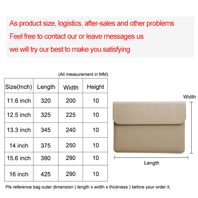 yicana 11 12 13 14 15.6 16 PU leather Laptop Sleeve For Macbook Air Retina Pro  Huawei Matebook Pro Surface Pro UltrathinBook