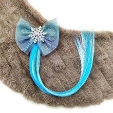 Принцесса блестящая Снежинка эластичная резинка для волос для девочек с красочными длинными блестками конский хвост парик волос кольцо резинка аксессуары для волос