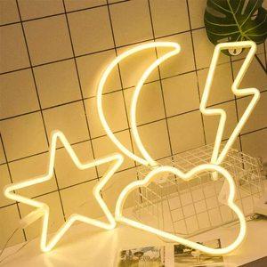 Image 4 - Neon Zeichen Batterie/USB Betrieben Wolken Blitz Neon Lichter für Weihnachten kinder Zimmer Party Urlaub Geschenk Schlafzimmer Shop decor