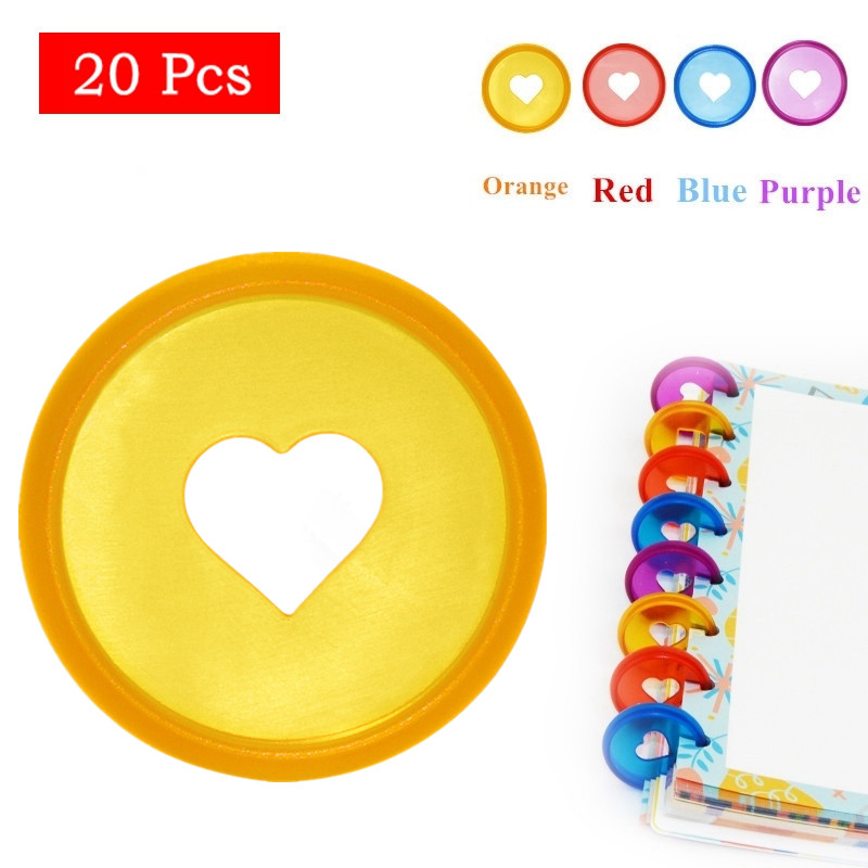 20 Pcs 28mm Candy Color Heart Ring Binder For DiscboundNotebooks/Planner Diy DiscboundDiscs Loose Leaf Binding Rings LF19-308