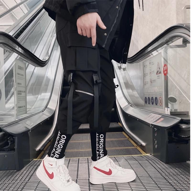 Joggers Cargo Pants for Men Casual Hip Hop Hit Color Pocket Male Trousers Sweatpants Streetwear Ribbons Techwear Pants 5