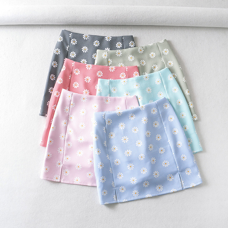 Women Split Details Daisy Print Mini Skirt With Under Shorts Mini Skort In Blue Black Green Pink