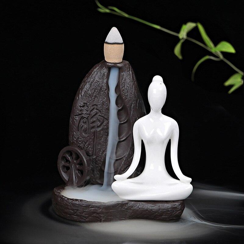 Tea House Ceramic Ornaments Backflow Incense Burner Yoga Girl Cone Censer For Incense Sticks Holder Living Room Home Decor