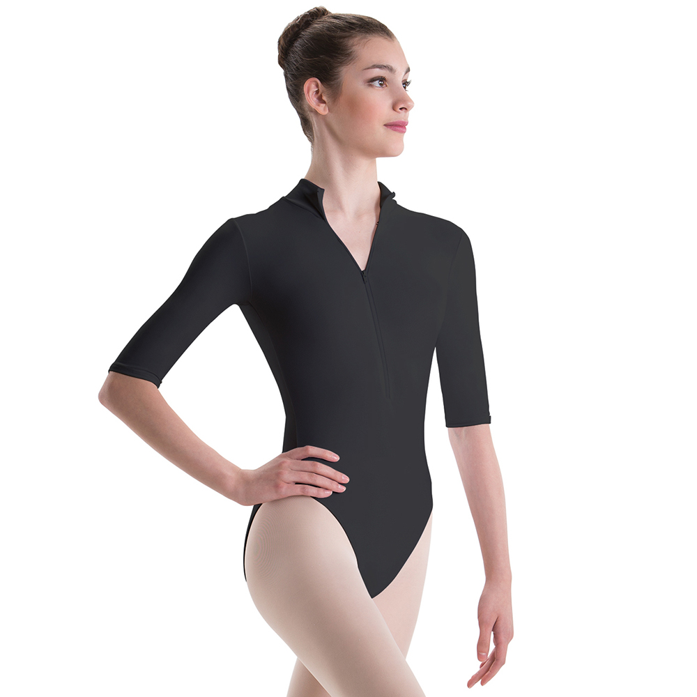 AOYLISEY Women Ballet Dance Leotards 1/2 Long-sleeved Black Gymnastics Leotard Black Workout Bodysuits Romper Men Costumes
