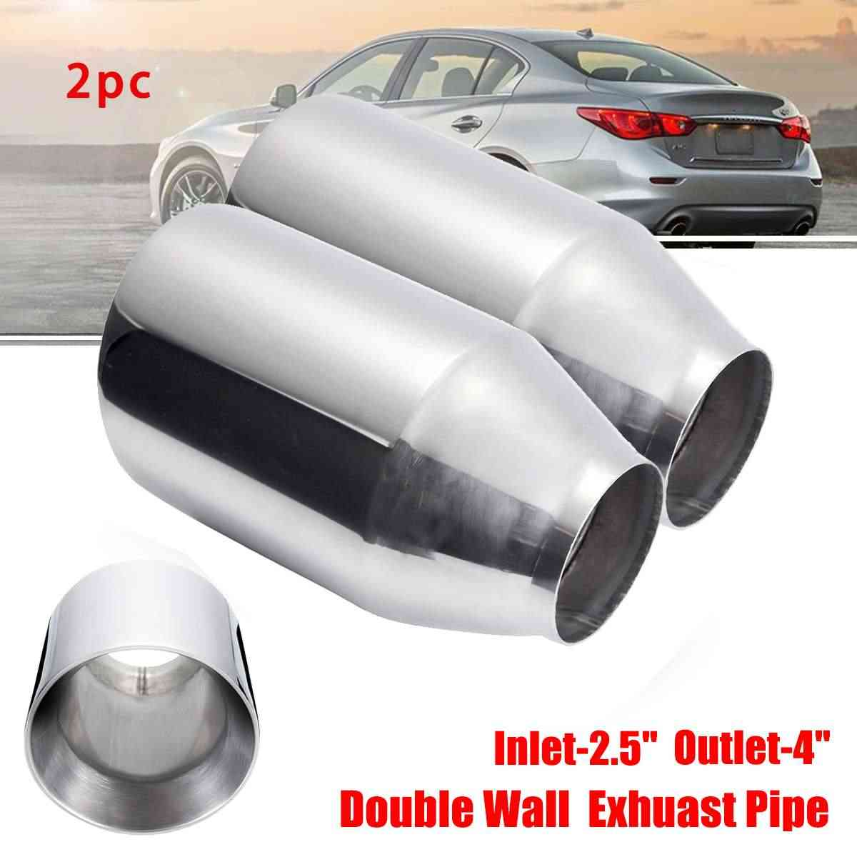 2pcs 2 5 4 car dual wall exhaust muffler pipe 63 101mm double exhaust tip tail tube stainless steel