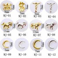 10 unids/lote Japan Cross Bow Key tortuga corazón conejo 3D DIY aleación de Metal Nail Art Deco Nail Stickers/encantos/herramientas para manicura