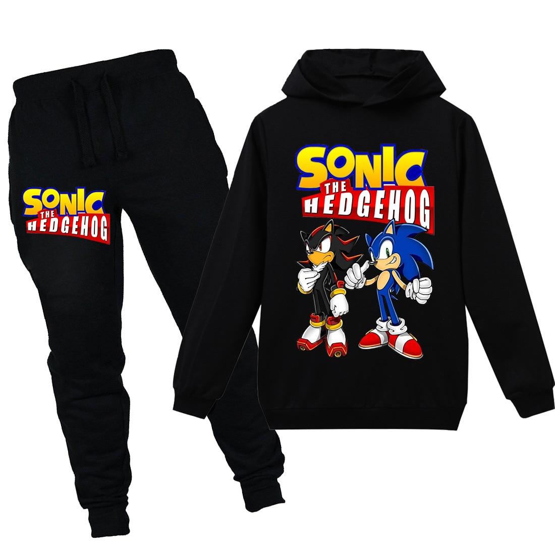 Child Tracksuit Autumn Boy Clothing Sets Children Boys Girls Sonic The Hedgehog Clothes Kids Hooded T-shirt Pants 2 Pcs Suits