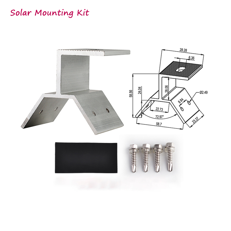 Mounting Brackets Kit Accessories For Solar Panels Installation Fixed On Roof House Solar Panel Aluminum Material Fixed Clamp