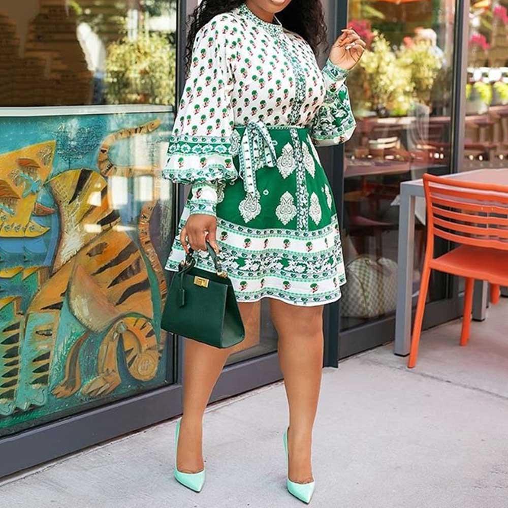 Boho Women Mini Dress Long Sleeve Autumn Plus Size High Waist Female Dresses Robe 2019 Female Vestiods Lady