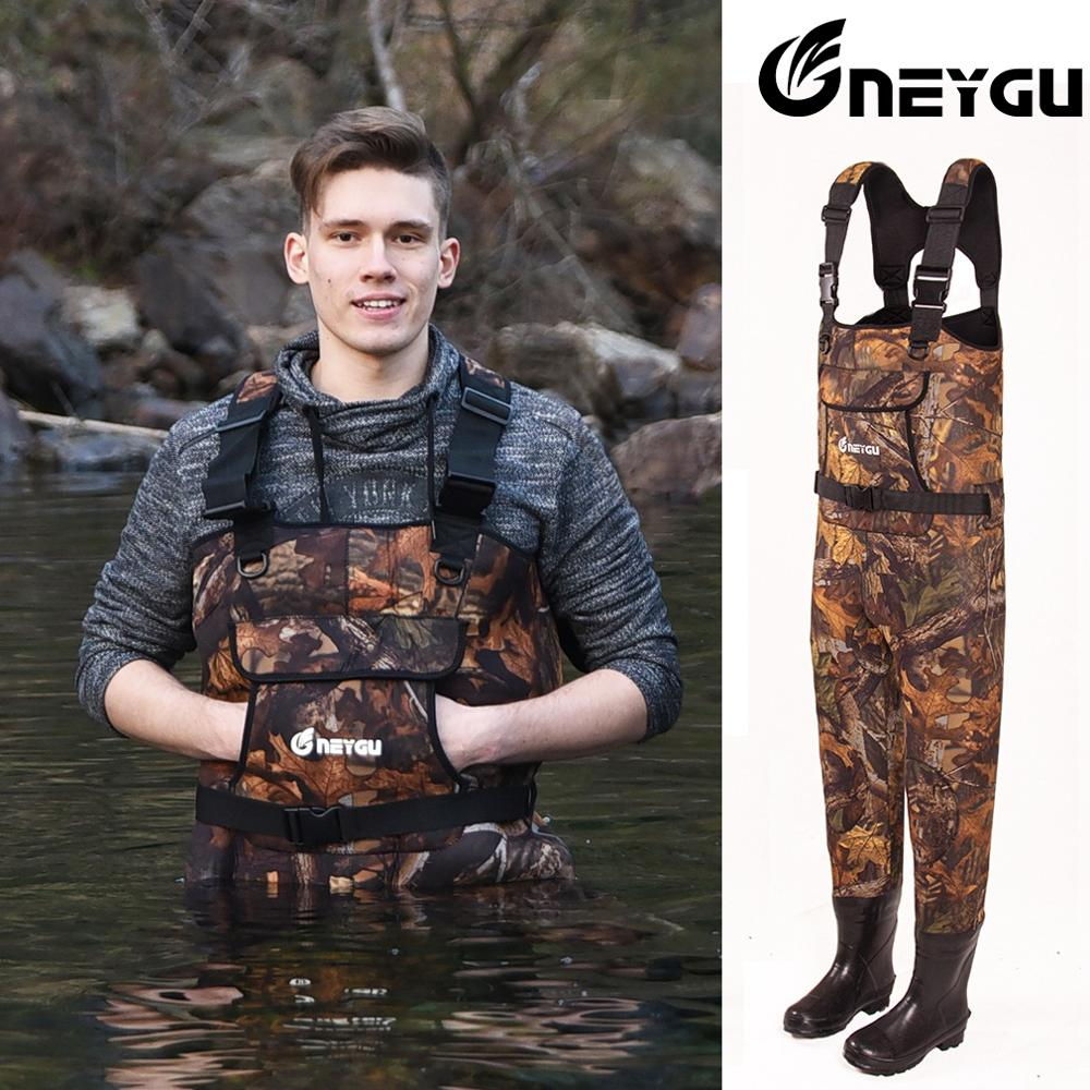 Neygu 5mm Neoprene chest wader attached rubber boots  Insulated neoprene thermal function promise your ice fishing warm in water|Fishing Clothings| |  - title=