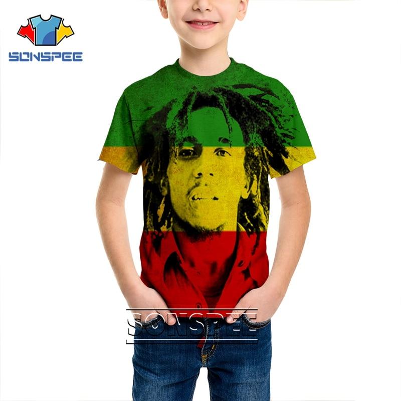 Fashion T-shirt 3D Print Men Women Reggae Anime Children Streetwear Bob Marley T Shirt Harajuku Kids Funny Clothes Short Sleeve