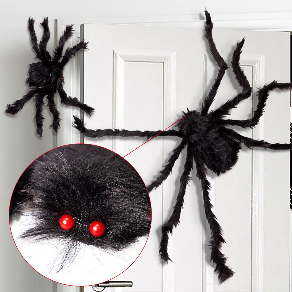 Hbd96d00cbd5e4eb09f3a4c84db5e2b3eO - 1Pc 30/50/75cm Black Big Halloween Plush Spiders Kids Children Toy Plush Black Multicolour Style For Party Halloween Decoration
