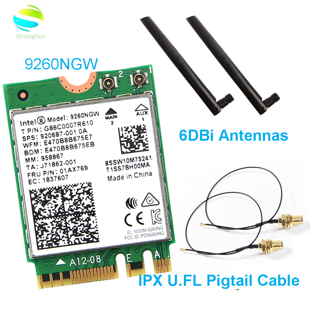 For Intel Wireless 9260NGW Wifi Network Card 9260AC Dual Band 1730mbps NGFF 802.11ac Wifi BT 5.0 For Windows 10