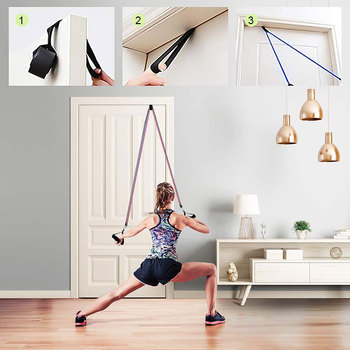 Resistance Bands Set Exercise Bands with Door Anchor Legs Ankle Straps for Resistance Training Physical