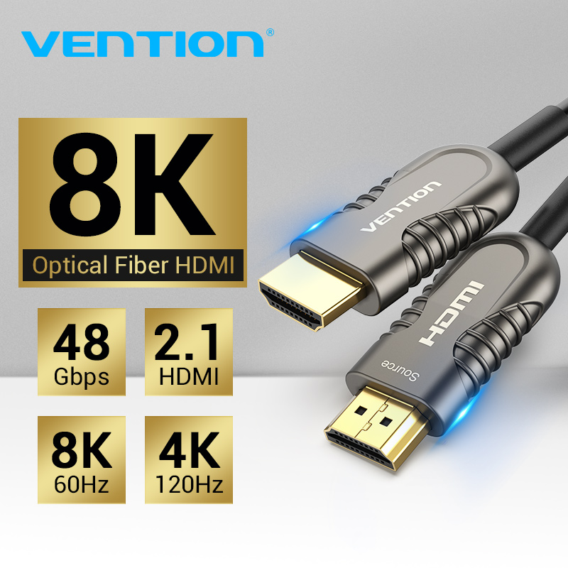 Vention 8 k hdmi 2.1 cabo 120 hz 48 gbps cabo de fibra óptica hdmi ultra de alta velocidade hdr earc para hd tv caixa projetor ps4 cabo hdmi