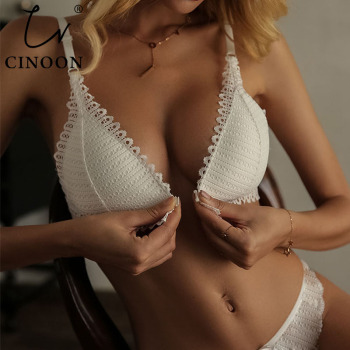CINOON French Lace Front Closure Bra And Panties Set Women Sexy Lingerie Set Push Up Bralette Embroidery Underwear Brassiere Apparels Bra Lingerie Women