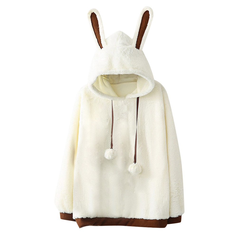 Pullover Hoodies With Ears Women Solid Color Fleece Jackets Winter  Long Sleeve Hooded Blouse Jackets Ladies Mantle Sweatshirt