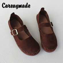 Careaymade-New Spring and Summer Retro Soft Bottom Mori girl Shoes Head Layer Cowhide Pure Leather Mary Jean Flat-soled