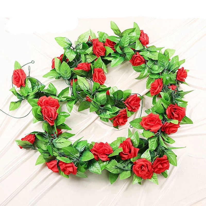 250 Centimetri/Lotto Rose di Seta Edera Vite con Foglie Verdi per La Casa Decorazione di Cerimonia Nuziale Foglia Falso Fai da Te Appeso Ghirlanda di Fiori Artificiali