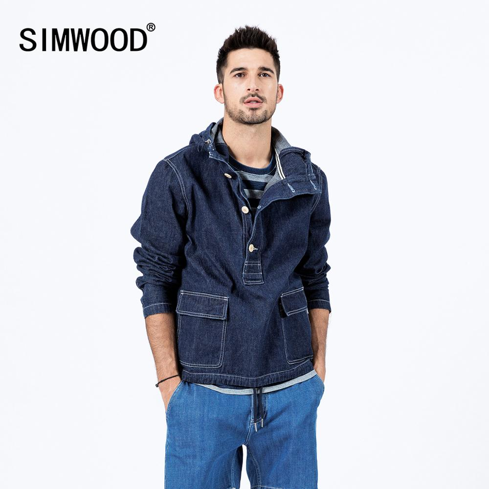 SIMWOOD 2020 Spring New Denim Pullover Jackets Men Hooded Cargo Jacket Fashion 100% Cotton Plus Size Hip Hop Outerwear SJ130036