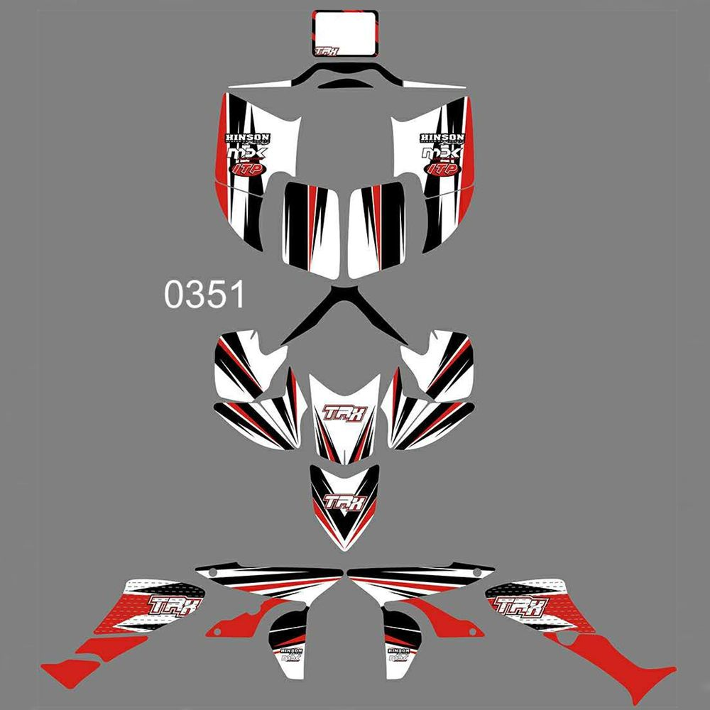New Full Graphics Decals Stickers Custom Number Name Glossy Bright Stickers Waterproof For HONDA TRX450R ATV
