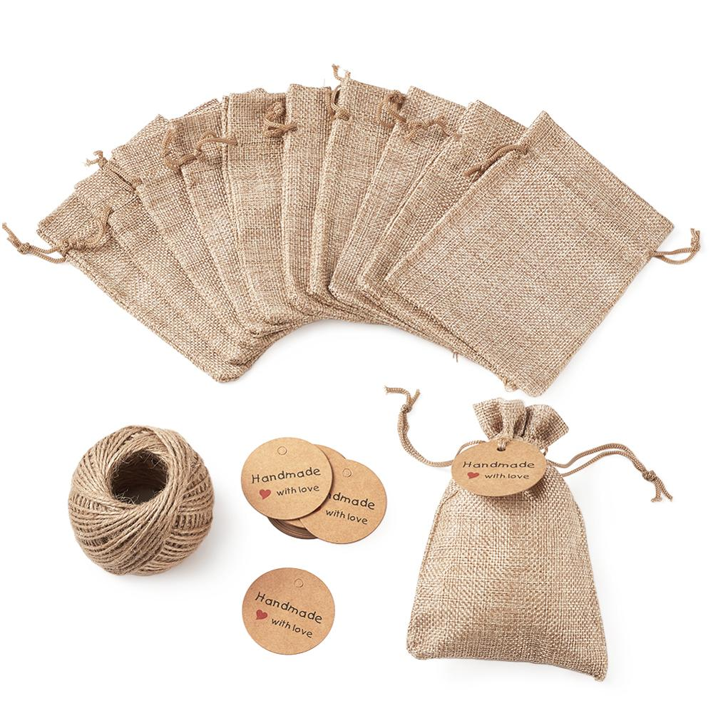30pcs Gift Bags Burlap Packing Pouches With Drawstring Jewelry Display Kraft Paper Price Tags And Hemp Cord Twine String 14x10cm