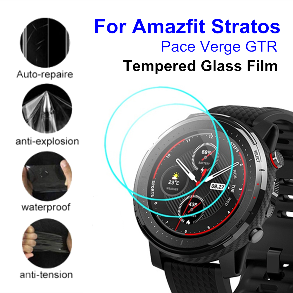 2pcs Tempered Glass Full Screen Protector Film Cover For Xiaomi Huami Amazfit Stratos 3 2 Pace Verge GTR 47mm 42mm Smart Watch