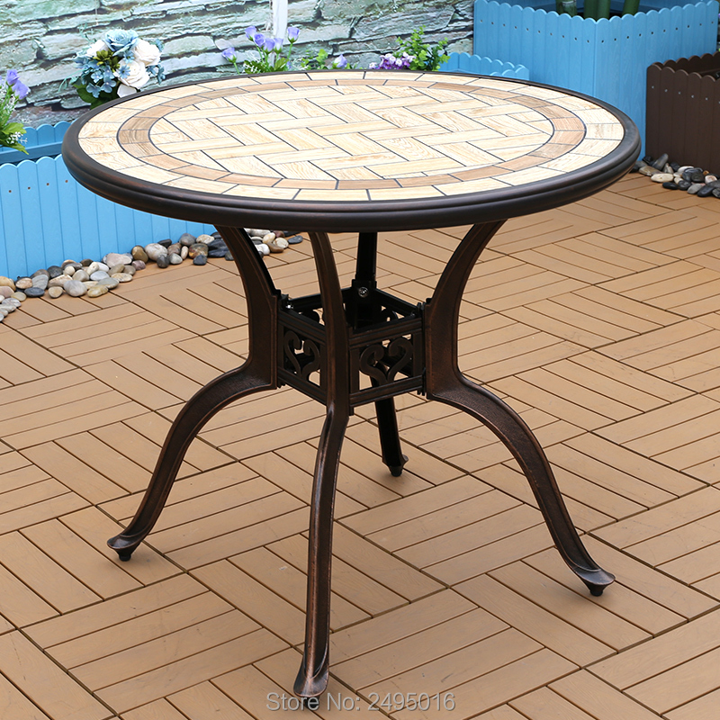 dia80cm cast aluminum table with resin ceramic tile top table for garden chair outdoor furniture durable all weather