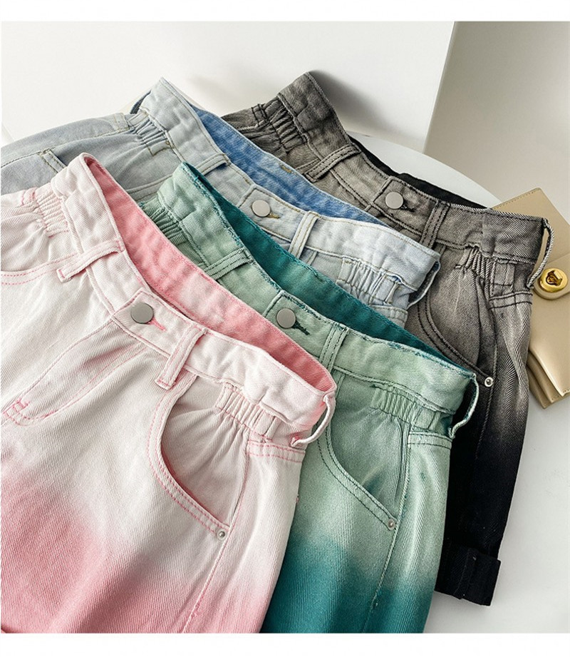 2021 Newest Women Shorts Jeans Summer Tie Dye Print High Waist Buttons Zipper Short Pants Casual Jeans High Quality 4 Colors